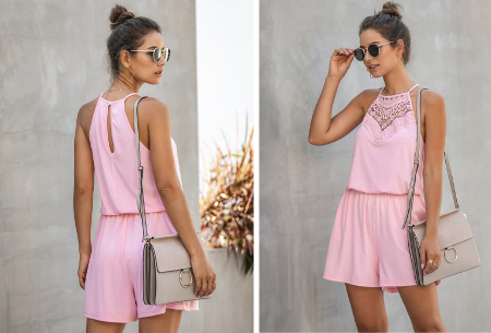 Stretchy playsuit | Korte jumpsuit met gehaakt detail Roze