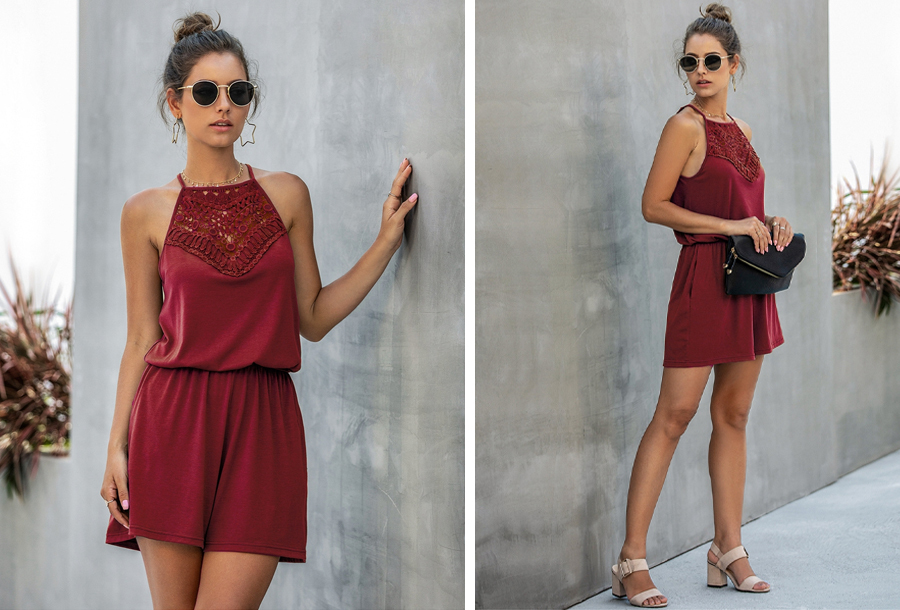 Stretchy playsuit - Maat XS - Wijnrood