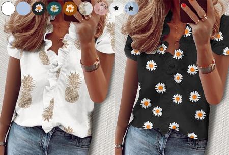 Ruffle V-hals top | Trendy dames t-shirt voor een vrouwelijke look