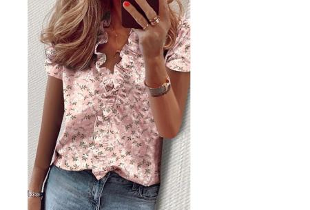 Ruffle V-hals top | Trendy dames t-shirt voor een vrouwelijke look bloesem