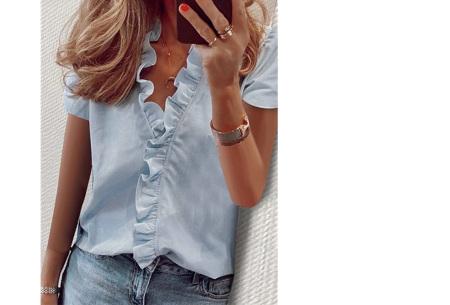 Ruffle V-hals top | Trendy dames t-shirt voor een vrouwelijke look lichtblauw