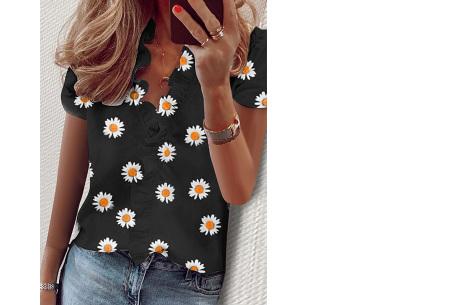 Ruffle V-hals top | Trendy dames t-shirt voor een vrouwelijke look madelief zwart