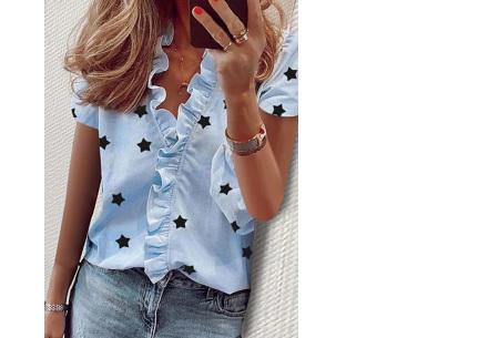 Ruffle V-hals top | Trendy dames t-shirt voor een vrouwelijke look sterren blauw