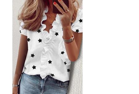 Ruffle V-hals top | Trendy dames t-shirt voor een vrouwelijke look sterren wit