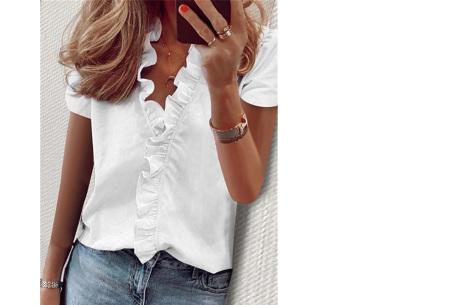 Ruffle V-hals top | Trendy dames t-shirt voor een vrouwelijke look Off white