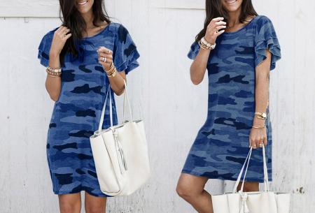 Army T-shirt jurk | Basic zomerjurk met trendy legerprint Blauw