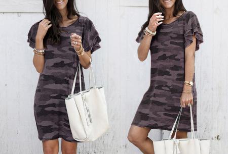 Army T-shirt jurk | Basic zomerjurk met trendy legerprint Bruin