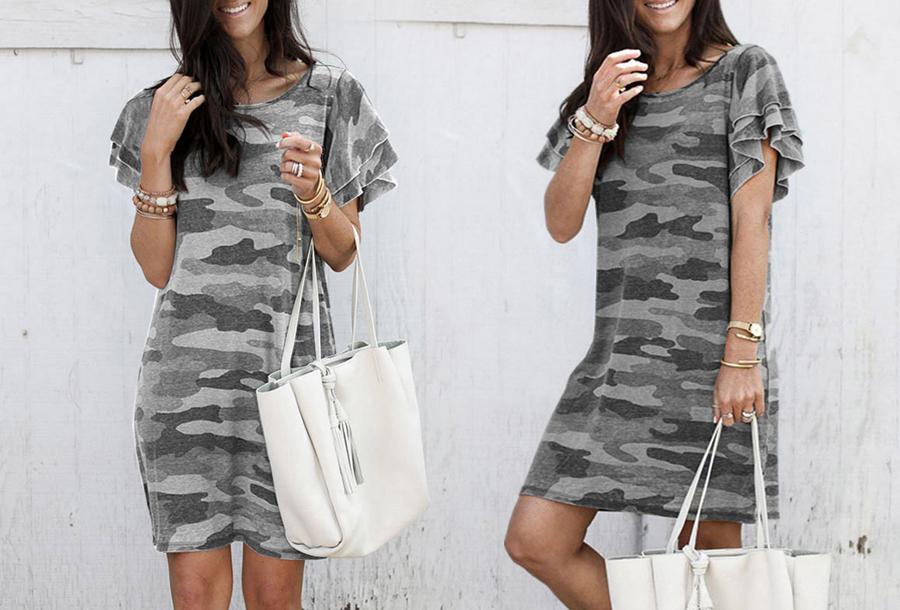 Army T-shirt jurk - Maat S - Grijs