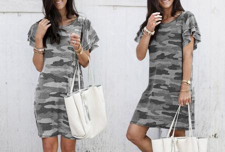 Army T-shirt jurk | Basic zomerjurk met trendy legerprint Grijs