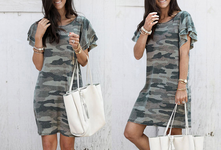 Army T-shirt jurk - Maat XS - Groen