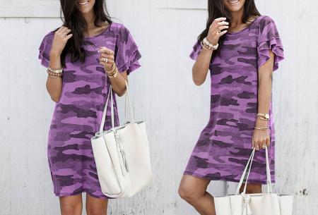 Army T-shirt jurk | Basic zomerjurk met trendy legerprint Paars