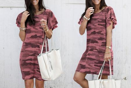 Army T-shirt jurk | Basic zomerjurk met trendy legerprint Rood