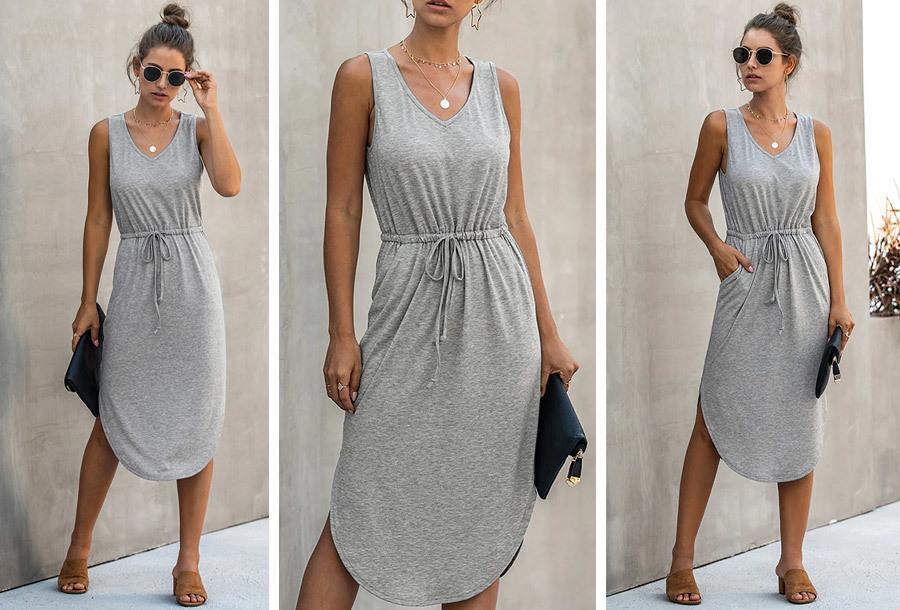 Mouwloze midi jurk - Maat L - Grijs