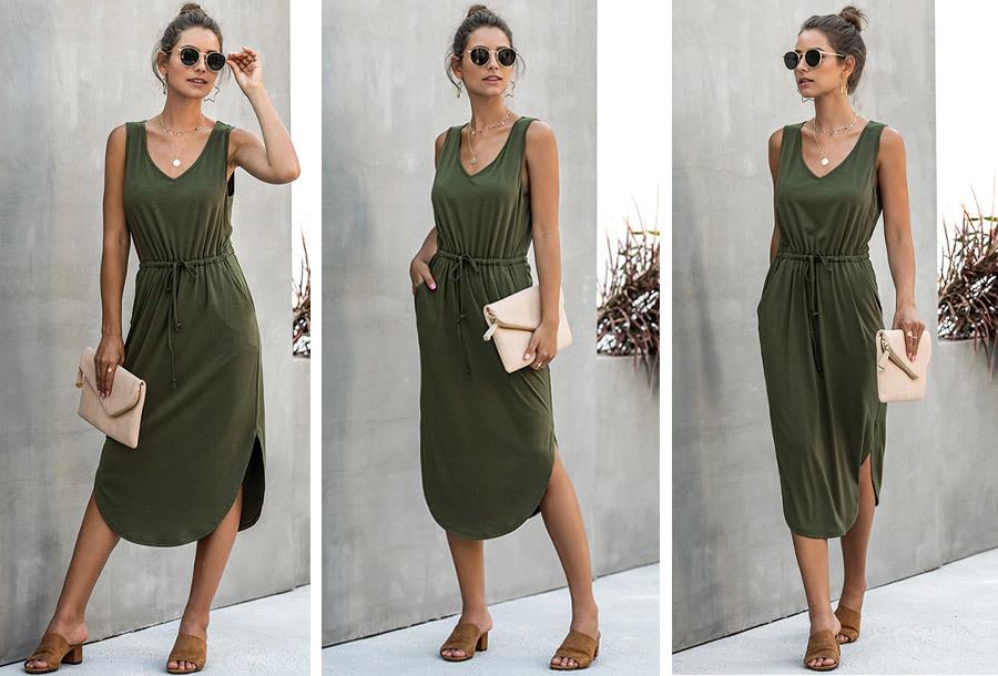 Mouwloze midi jurk - Maat M - Groen