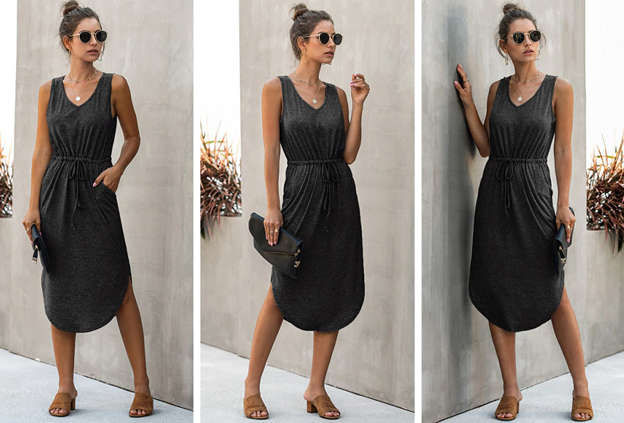 Mouwloze midi jurk - Maat L - Zwart