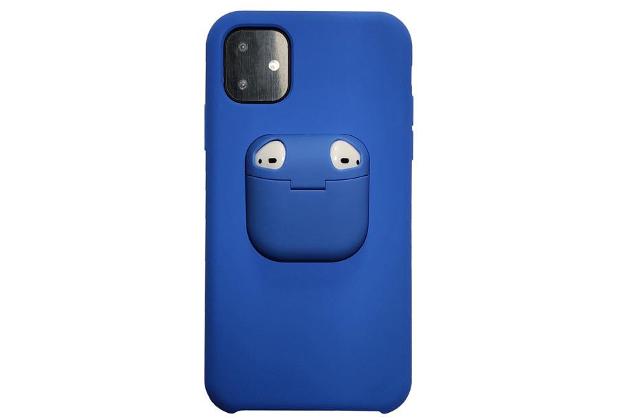 Telefoonhoesje met case voor oordopjes Type iPhone 11 pro Max - Blauw