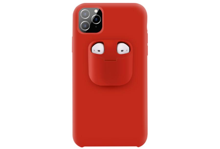 Telefoonhoesje met case voor oordopjes Type iPhone 11 pro Max - Rood