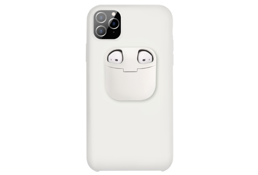 Telefoonhoesje met case voor oordopjes Type iPhone Xr - Wit
