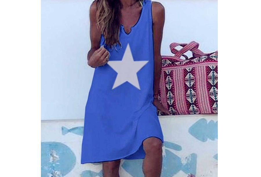 Jurk met ster - Blauw - Maat XL