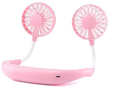 Nek ventilator | Draagbare mini ventilator voor om je nek of op tafel roze