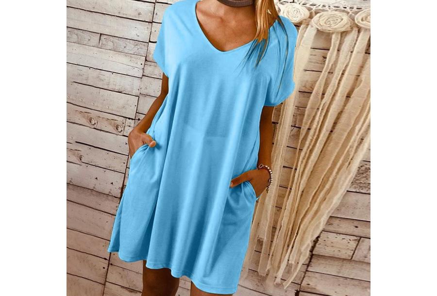 Basic T-shirt jurk - Blauw - Maat M