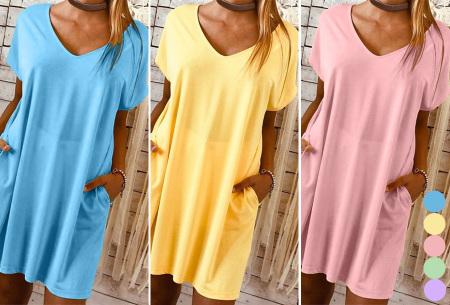 Basic T-shirt jurk | Losvallende strandjurk met zakken