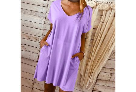 Basic T-shirt jurk | Losvallende strandjurk met zakken Paars