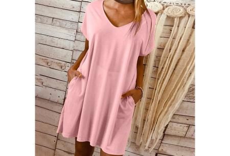 Basic T-shirt jurk | Losvallende strandjurk met zakken Roze