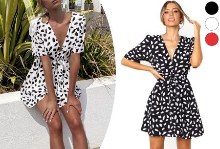 Korte jurk met print | Blousejurk met hippe panterprint