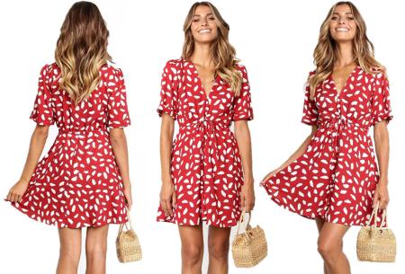 Korte jurk met print | Blousejurk met hippe panterprint  Rood