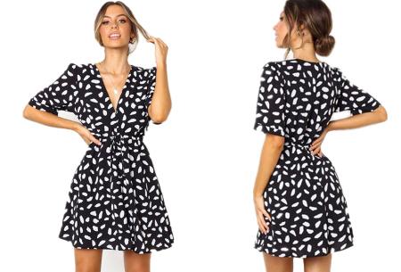 Korte jurk met print | Blousejurk met hippe panterprint  Zwart