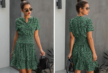Getailleerde zomerjurk | Stijlvolle jurk met dalmatiërprint  Groen