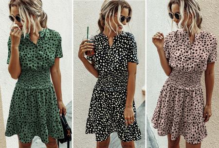 Getailleerde zomerjurk | Stijlvolle jurk met dalmatiërprint