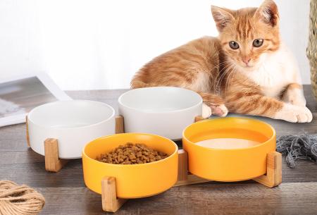 Drink- en voerbak voor hond en kat | Keramische bakjes in houten standaard