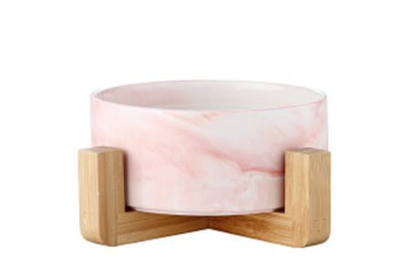 Drink- en voerbak voor hond en kat | Keramische bakjes in houten standaard A - Marmerlook roze