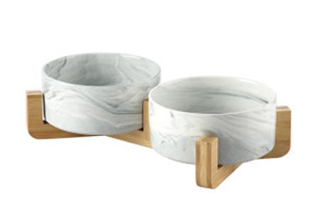 Drink- en voerbak voor hond en kat | Keramische bakjes in houten standaard B - Marmerlook grijs