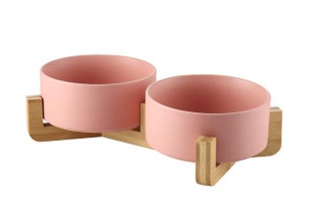 Drink- en voerbak voor hond en kat | Keramische bakjes in houten standaard B- Roze