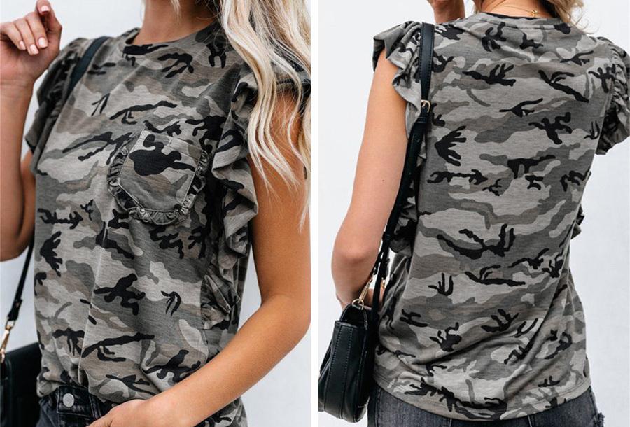 T-shirt met ruffle mouwen - Camouflage grijs - Maat M