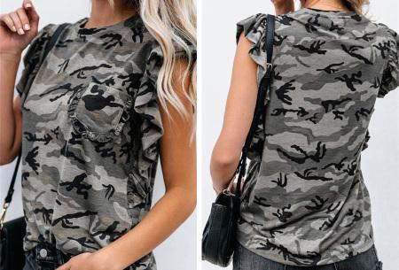 Ruffle T-shirt | Dames top met camouflage- of panterprint Camouflage grijs