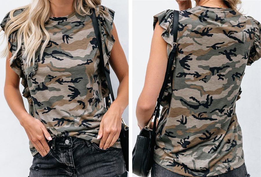 T-shirt met ruffle mouwen - Camouflage groen - Maat M
