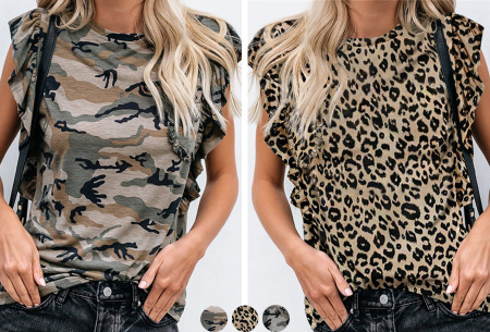 Ruffle T-shirt | Dames top met camouflage- of panterprint