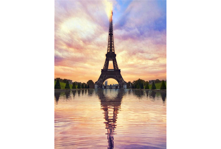 Diamond painting natuur #11 Eiffeltoren weerspiegeling - 40 x 50 cm