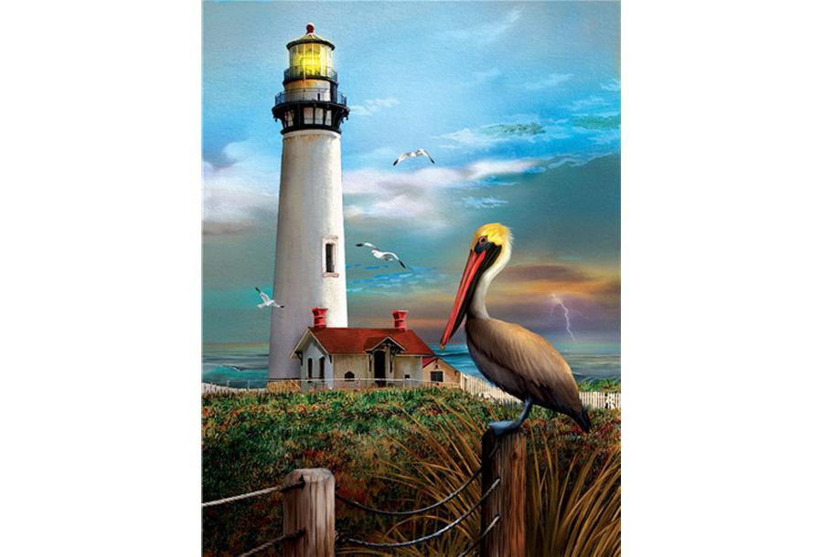 Diamond painting natuur #12 Vuurtoren en pelikaan - 20 x 30 cm