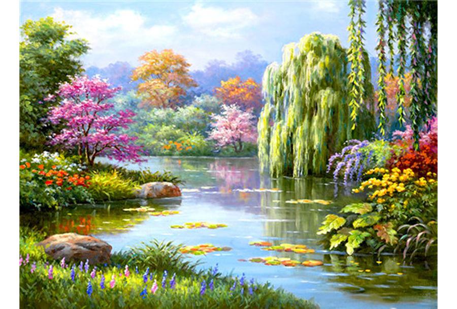 Diamond painting natuur #13 Getekend landschap - 20 x 30 cm