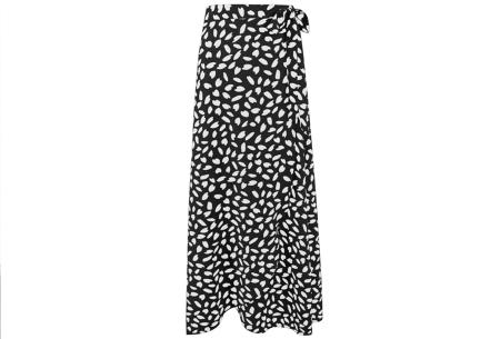 Lange rok | Trendy overslag rok met print Zwart