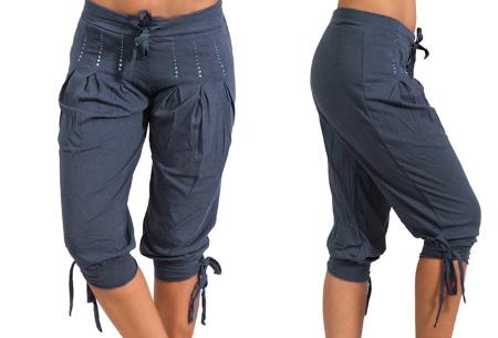 Dames driekwart broek | Trendy korte broek met diamantjes Donkerblauw