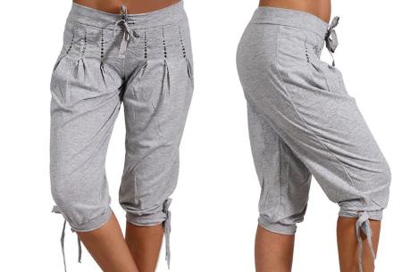Dames driekwart broek | Trendy korte broek met diamantjes Grijs