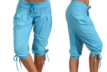 Dames driekwart broek | Trendy korte broek met diamantjes Lichtblauw
