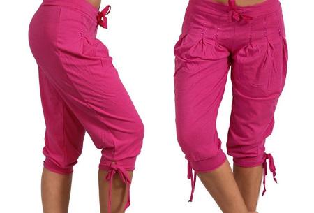 Dames driekwart broek | Trendy korte broek met diamantjes Fuchsia