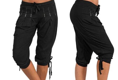 Dames driekwart broek | Trendy korte broek met diamantjes Zwart